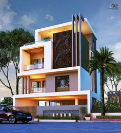 The exterior is the face of the house that everyone will see in the first part. Take a look at the world's most beautiful modern homes and find 3 Storey House Design, Bungalow House Design, House Front Design, Modern Exterior House Designs, Modern House Design, Exterior Design, Luxury House Plans, Modern House Plans, Indian House Plans