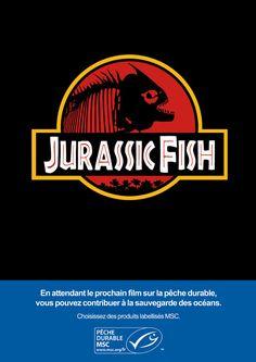 Parodies d'affiches de cinéma pour promouvoir une pêche durable - Jarassic Park devient Jurassic fish #MSC  #DuPoissonDansUnFilm http://www.une-autre-planete.com/affiches-de-cinema-detournees-pour-une-peche-durable/