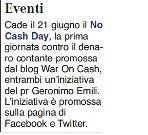 25/05/2011 - Pubblicità ITALIA - No Cash Day
