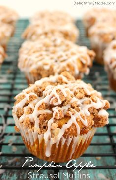 All of your fall favorites in one delicious breakfast treat! These Pumpkin Apple Struesel Muffins are wonderfully moist, with big chunks of apples baked inside with a delicious streusel and glaze on top. Bakery quality muffins right at home! Pumpkin Fudge, Pumpkin Coffee Cakes, Pumpkin Dessert, Pumpkin Cheesecake, Muffin Recipes, Apple Recipes, Pumpkin Recipes, Fall Recipes, Brunch Recipes