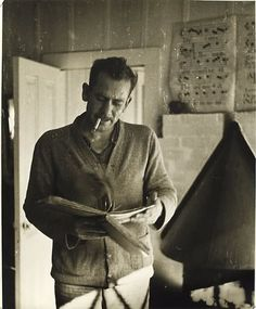 john steinbeck, he wrote sitting in an old camper with his smokes and a cup of coffee.