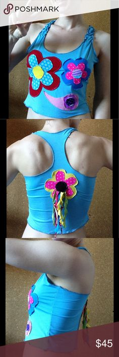 Stretchy Rainbow Flower Power Rave Crop Tank Top Adorable. Kitsch. Missy arts and crafts style. Electric Daisy carnival. Colorful festival child. Model is 32b. Handmade, stretchy. No labels. Fringe. Garden. Wild. Burning man. Summer. Anthropologie Tops Crop Tops
