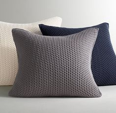 RH Baby & Child's Chunky Cotton Knit Pillow Cover:Thick cotton yarns are carefully braided together to create our texture-rich pillow cover, providing an essential layer of warmth and coziness that goes anywhere and with just about everything.