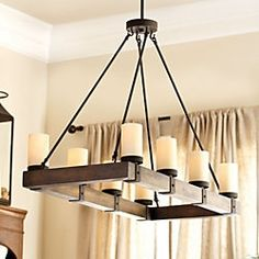 """I love this rustic chandelier if the space can handle it: 29 1/2""""H X 39""""W X 18""""D  Arturo 8-Light 