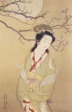 上村松園「梅下佳人」 Japanese Painting, Chinese Painting, Chinese Art, Asian Artwork, Japanese Landscape, Japanese Characters, Black And White Painting, High Art, Japanese Prints