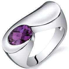 Artistic 1.75 carats created Alexandrite Ring in Sterling Silver Rhodium Nickel Finish Size 5, Available in Sizes 5 thru 9 Peora