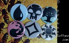 These fun buttons feature the six mana types from the game Magic: The Gathering. Available as 1.25 or 1.5 buttons and magnets. Can also be ordered individually by requesting a custom button.   Choose the product you wish to purchase from the drop down Select A Material menu. ******************************************************************************************  Thanks for stopping to look at our awesome buttons, magnets and keychains. We make all of the products at home, by hand (and…