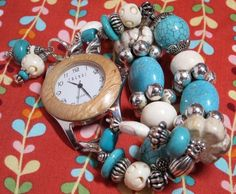 Mother Earth Chunky Bead Turquoise and Ivory Interchangeable Watch