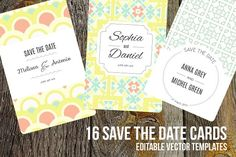 16 Save The Date editable cards by Favete Art on @creativemarket