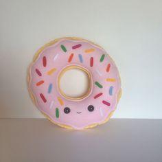 Pink Sprinkle Donut Felt & Fleece Plush - Doughnut - Plushie - Softie by APlushLife on Etsy