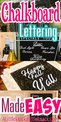 Chalkboard Lettering Hack - A Little Knick a Little Knack Chalkboard Pictures, Chalkboard Drawings, Chalkboard Lettering, Chalkboard Designs, Chalkboard Paint, Bubble Letters, Diy Signs, Name Signs, Hacks Diy