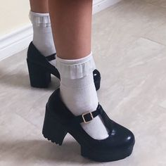 🖤 Adorable Mary Jane platforms 🖤 Similar to that of. - Depop 🖤 Adorable Mary Jane platforms 🖤 Similar to that of UNIF - Depop Pretty Shoes, Cute Shoes, Me Too Shoes, Funky Shoes, Aesthetic Shoes, Aesthetic Clothes, Aesthetic Fashion, Mary Janes, Mode Lolita