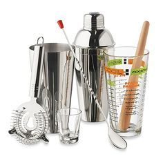 You'll have a blast being the cocktail superstar with this complete bar mixing set. Includes 20-oz. mixing glass, 2-oz. shot glass, stainless steel strainer, wooden muddler,stainless steelspoon, and 3-piece stainless steel shaker