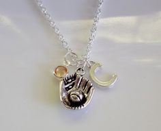 Softball Glove necklace baseball mitt necklace by CharmsFromHanna