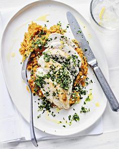 Pan Fried Chicken With Sweet Potato Mash & Gremolata | sheerluxe.com