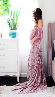 The Velvet Love Maternity Gown | Absolutely stunning and perfect for a maternity photo shoot | maternity gown photography boho wedding dress bohemian - The VELVET LOVE flounce | maternity outfit | maternity wardrobe | maternity style | maternity gown | maternity dress | maternity clothes | pregnancy | maternity photography | bump | #ad #maternitygown