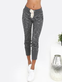 Shop Lace Up Peppered Sweatpants CHARCOAL online. SheIn offers Lace Up Peppered Sweatpants CHARCOAL & more to fit your fashionable needs.