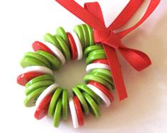 Button wreath ornament holiday craft for kids.