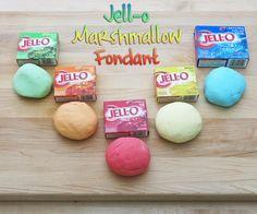 Marshmallow Fondant Jell-O Marshmallow Fondant: per color 2 oz Marshmallows lb Powdered Sugar 4 tsp. Jello Mix Little bit of waterJell-O Marshmallow Fondant: per color 2 oz Marshmallows lb Powdered Sugar 4 tsp. Jello Mix Little bit of water Marshmallow Fondant, Jello Fondant, Fondant Icing, Chocolate Fondant, Fondant Tips, Chocolate Chips, Edible Fondant Recipe, Homemade Fondant Recipes, Chocolate Bowls