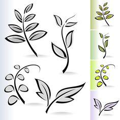 Simple leaf creative vector set 05 free