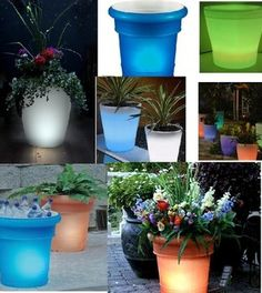 solar powered lit planters | solar powered planters will light up your patio and garden amazon ...