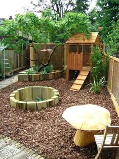 The Best Backyard Playground Ideas For Kids. Some great nature inspired play spaces here to get kids inspired to play outside more at home natural playground ideas Kids Backyard Playground, Backyard For Kids, Playground Ideas, Garden Ideas Children, Garden Ideas Kids, Modern Backyard, Small Garden Ideas With Bark, Small Garden Play Area Ideas, Backyard Play Areas