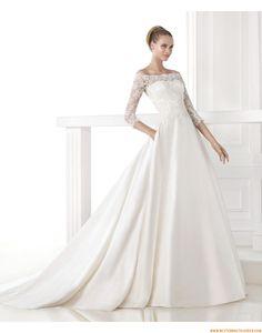 2015 Ausgefallene Exklusive Glamouröse Brautkleider aus Satin mit Applikation