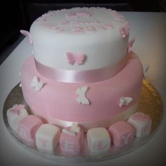 Pink and white butterfly Christening cake