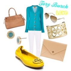 Torch Burch love. Aqua sweater and yellow flats. Love white pants!