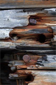 plainte en bois percée de pointes rouillées: