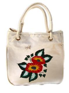 Red and Yellow Flowered Painted Tote Bag by ipaintitpretty on Etsy, $40.00