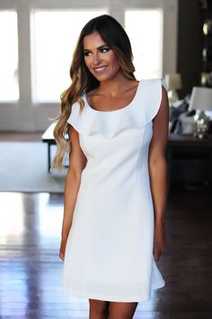 Textured Ruffle Dress- Ivory