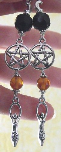 Wiccan Priestess Crescent Moon Amber and Jet Shoulder Duster Earrings | sagegarden - Jewelry on ArtFire