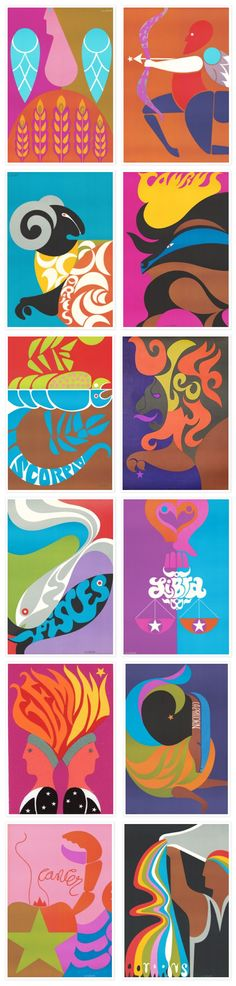 Zodiac Posters - by Simboli Design.  Simboli was commissioned by Poster Prints in 1969 to create a line of very graphically strong and colorful zodiac posters, which were were sold worldwide.