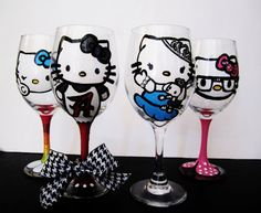 OMG OMG OMG!!!!!!!!  THEY CAN MAKE ME AN ALABAMA CRIMSON TIDE HELLO KITTY WINE GLASS!!!!! PLEASE SOMEBODY BUY THIS FOR MY BIRTHDAY!!!!!!    Collect them all  hello kitty Wine Glasses  set of 4 by Jdboutique, $80.00