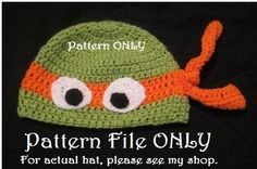 It has been requested MANY times, and NOW  IT'S HERE!!! PATTERN for my design of the Ninja Turtle Hat. Only $2.97 https://www.etsy.com/listing/199091730/pattern-only-ninja-turtle-winter-beanie?ref=listing-0