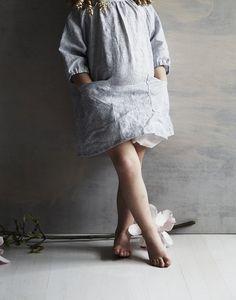gemma dress in blue pinstripe linen