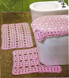 CROCHE COM RECEITA: Banheiro em crochê rosa para tapetes