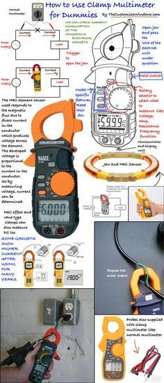 It is great for testing real current consumed by electrical gadgets ed in our homes. A clamp meter is like a digital multimeter with a jaw which can clamped around a wire of an operating electrical instrument to measure current. Electronics Projects, Electronics Basics, Electronics Gadgets, Home Electrical Wiring, Electrical Projects, Electrical Installation, Residential Electrical, Electrical Safety, Electronic Engineering