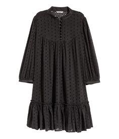 H&M Hole-embroidered Cotton Tunic - Black Muslim Fashion, Modest Fashion, Hijab Fashion, Fashion Dresses, Modest Dresses, Stylish Dresses, Casual Dresses, Stylish Dress Designs, Designs For Dresses
