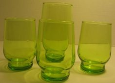 Vintage Green Glass Tumblers Footed
