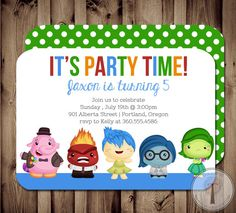 INSIDE OUT Inspired Birthday Invitation Kid's by T3DesignsCo