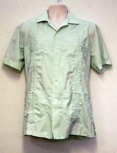 half off vintage green guayabera cuban mexican wedding shirt medium