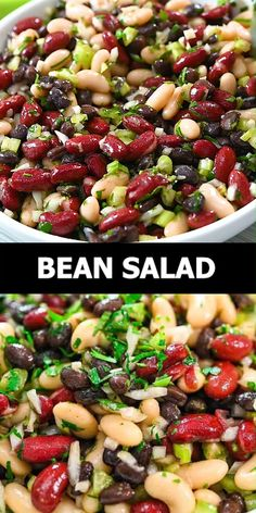 This Three Bean Salad is so flavorful. It makes a great side dish or topping, but can also be a healthy protein-packed snack, too. FOLLOW Cooktoria for more deliciousness! #beans #salad #vegan #vegetarian #plantbased #potluck #cooktoria Vegetarian Recipes Videos, Healthy Salad Recipes, Indian Food Recipes, Healthy Salads For Dinner, Salads For Bbq, Vegetable Salad Recipes, Side Salad Recipes, Ethnic Recipes, Healthy Recipes