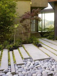 concrete garden paving + rocks for Japanese garden Modern Japanese Garden, Japanese Garden Landscape, Japanese Gardens, Modern Gardens, Japanese Pergola, Japanese Garden Backyard, Zen Gardens, Courtyard Gardens, Japanese Koi