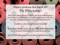 Try out our PiYo class today! Included with a group exercise pass.