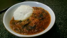 """My version of """"Efo Riro"""" with pounded yam. I added beef and tripe to my stew/soup. He taught me how to make my own, so that I can indulge as I please...lol.  American in love with Nigerian cuisine! #Efo #Riro #PoundedYam #Nigerian #African #Cuisine #OlaOla"""