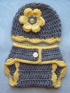 Crochet Baby Diaper Cover Hat Set, Newborn Diaper Cover, Infant Diaper Cover Set, Children, Gray - Yellow, Photo Prop, Gift