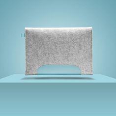 "$43.49 iPad Air 2 9,7"" / New iPad Pro 9,7"". Blue Laguna Leather & Light Grey 100% Wool Felt. Cute, case, sleeve, apple."