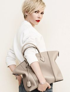 LOUIS VUITTON New Campaign! Michelle Williams modelling a nude Lockit bag. Find more nude and blush bags at nudevotion.com